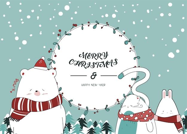Teken een schattig klein dier voor de kerstdag.