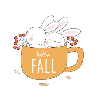 Teken een schattig konijn in een gele kop koffie voor de herfst.