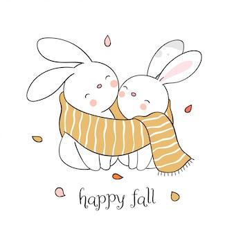 Teken een schattig konijn in een gele sjaal voor het herfstseizoen.