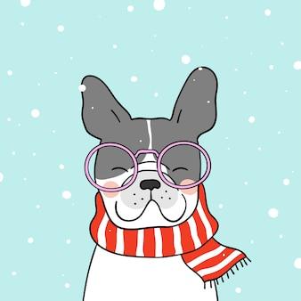 Teken een schattige hond met een mooie sjaal in de sneeuw voor het winterseizoen
