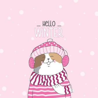 Teken een schattige kat in de sneeuw voor het winterseizoen