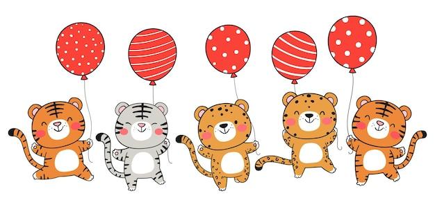 Teken een tijger met ballon voor kerstmis en nieuwjaar