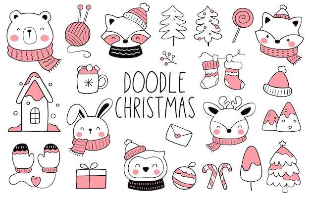 Teken een verzameling vrolijke bosdieren voor kerstmis