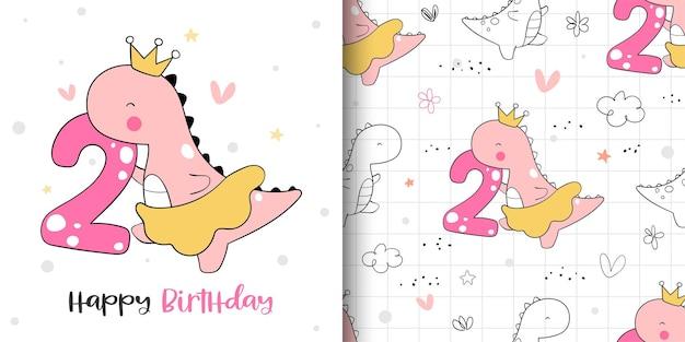 Teken een wenskaart en een patroon van het verjaardagsfeestje van het dinosaurusmeisje.