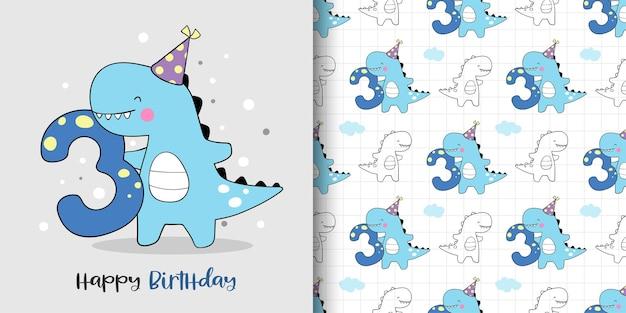 Teken een wenskaart en patroon van het verjaardagsfeestje van de dinosaurus.