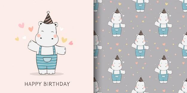 Teken een wenskaart en print een patroon van nijlpaard voor kinderen met stoffen textiel