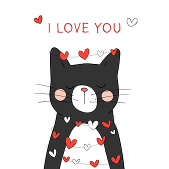 Teken een zwarte kat met een klein hart voor valentijn.