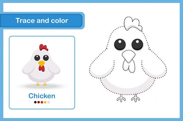 Teken- en vocabulaire-werkblad, trace en kleur: kip