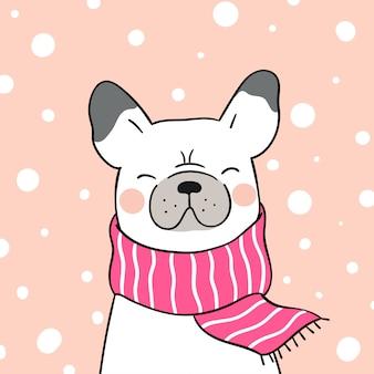 Teken franse bulldog met roze sjaal in de sneeuw voor kerstmis.