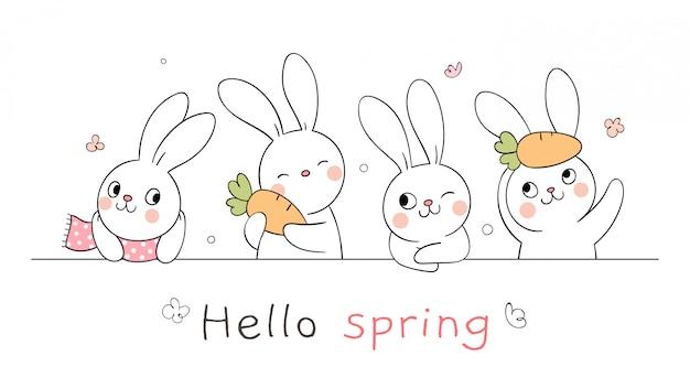 Teken gelukkig konijntje met woord hallo voor lentetijd.