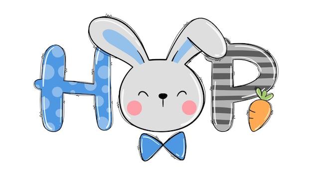 Teken gezicht schattig konijntje voor pasen afdrukbare jongens-t-shirt