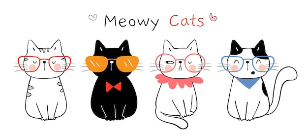 Teken grappige kat doodle cartoon-stijl