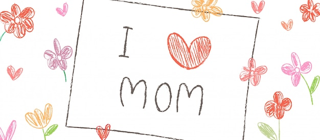 Teken handschrift i love mom with flower voor moederdag.