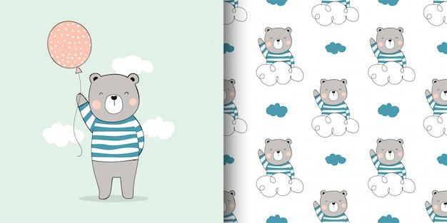 Teken kaart en print patroon beer voor stoffen textiel kinderen.