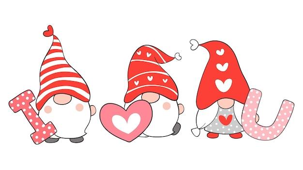 Teken kabouters met het woord ik hou van je valentijn.