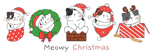 Teken karakter gelukkige kat voor kerstmis en nieuwjaar