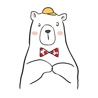 Teken karakter grote witte beer met gele hoed