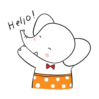 Teken karakter schattige olifant doodle stijl