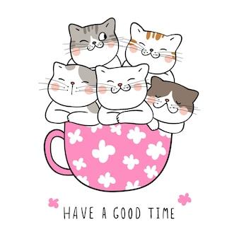 Teken kat in schoonheid kopje thee doodle cartoon stijl