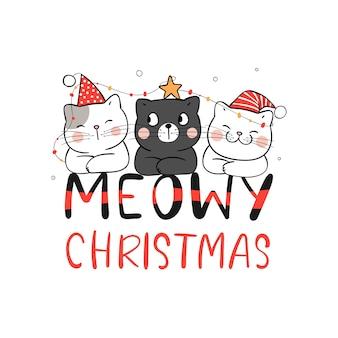 Teken kat meowy kerstmis voor nieuwjaar en vrolijk kerstfeest