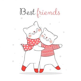 Teken kattenknuffel in de sneeuw voor kerstmis met woord beste vrienden.