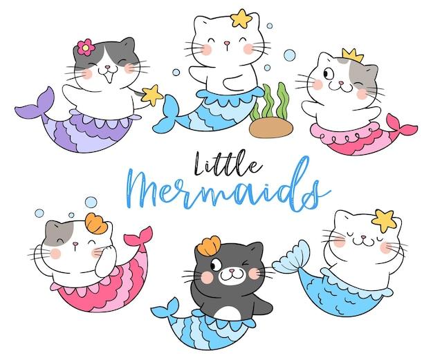 Teken kattenzeemeermin onder de zee-concept cartoon-stijl