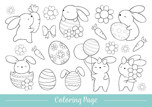Teken kleurplaat schattig konijntje voor pasen en de lente