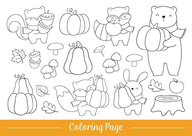 Teken kleurplaat schattige bosdieren voor herfst en herfst
