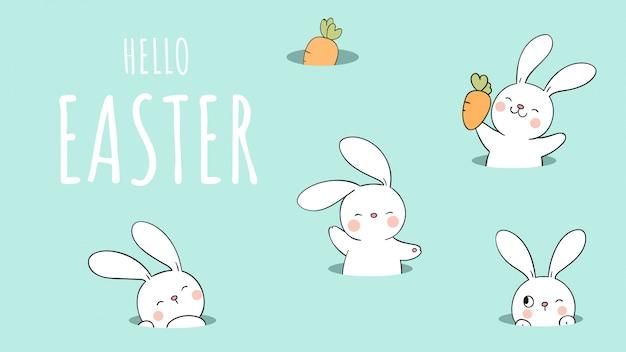 Teken konijn in het gat op groene pastel voor pasen en lente.