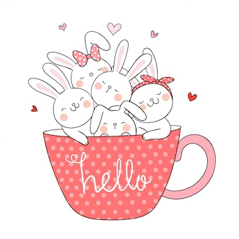 Teken konijn in kopje koffie doodle stijl.