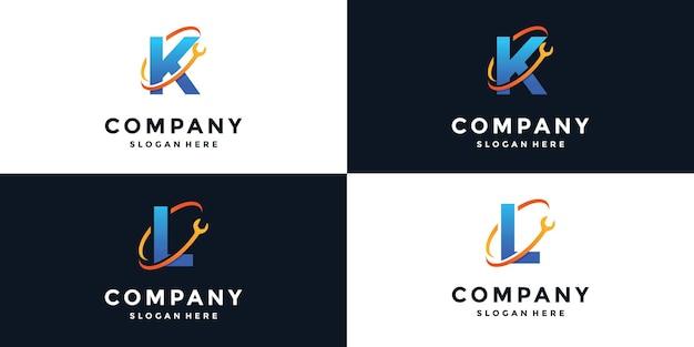 Teken letter k en l logo moersleutel