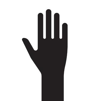 Teken mannenhand zwart-wit silhouet. vector illustratie