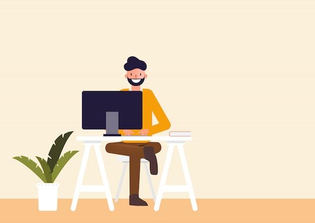 Teken mensen die freelance werk doen.