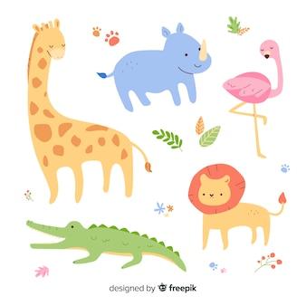 Teken met verzameling wilde dieren