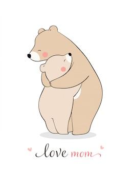 Teken moederbeer en babyknuffel met liefde.voor moederdag. Premium Vector