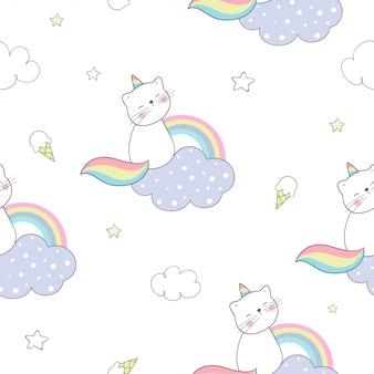 Teken naadloos patroon caticorn zittend op wolken en een regenboog.