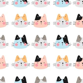 Teken naadloos patroon kleurrijk hoofd van kat