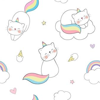Teken naadloze patroon caticorn met wolken en een regenboog.