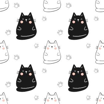 Teken naadloze patroon schattige kat met poot