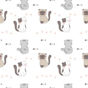 Teken naadloze patroon schattige kat