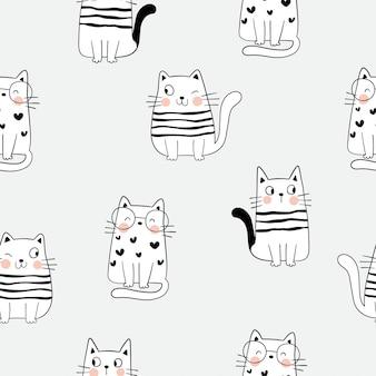 Teken naadloze patroonoverzicht van schattige kat op grijs.