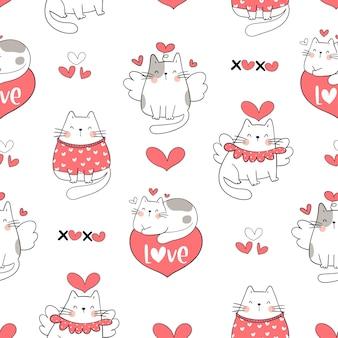 Teken naadloze schattige kat voor valentijnsdag