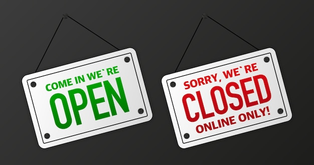 Teken op deur winkel met kom binnen we zijn open. zakelijke open of gesloten zwarte banner. vector illustratie.