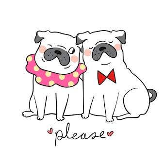 Teken paar liefde pug hond en woord alsjeblieft