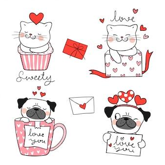 Teken portret leuke kat en mops hond voor valentijnskaart.