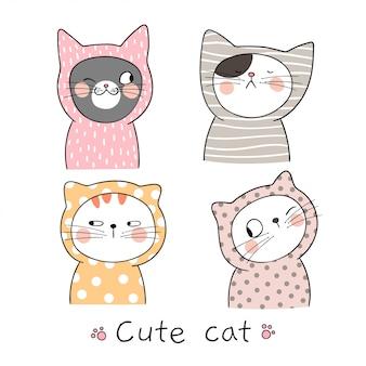 Teken portret schattige kat pastelkleur