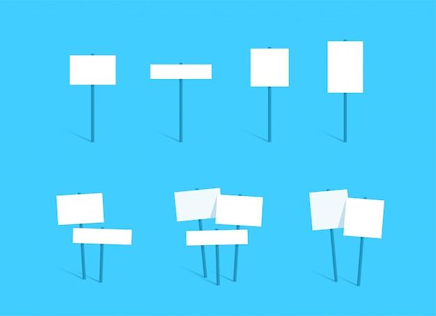 Teken post lege witte tekstvak board platte set