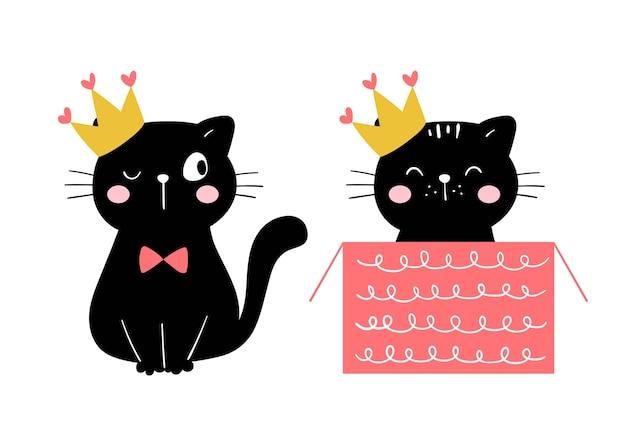Teken prinses zwarte kat voor een gelukkige verjaardag