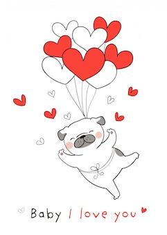 Teken pug dog met rood hart ballon voor valentijn.