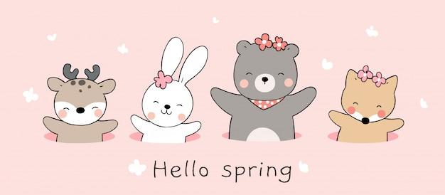 Teken schattig dier in het gat op roze kleur voor de lente.